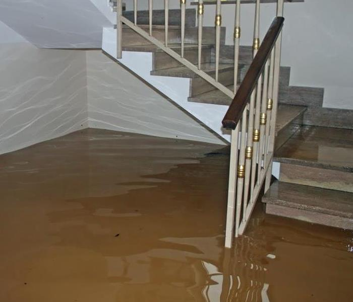 Flooding in stairway after a storm